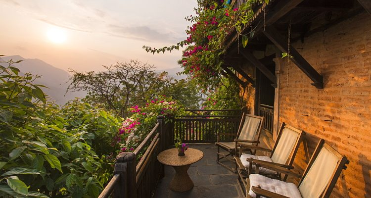 Balcony on an historical Newari farmhouse in the traditional village of Nuwakot, Langtang Region, Nepal, Asia