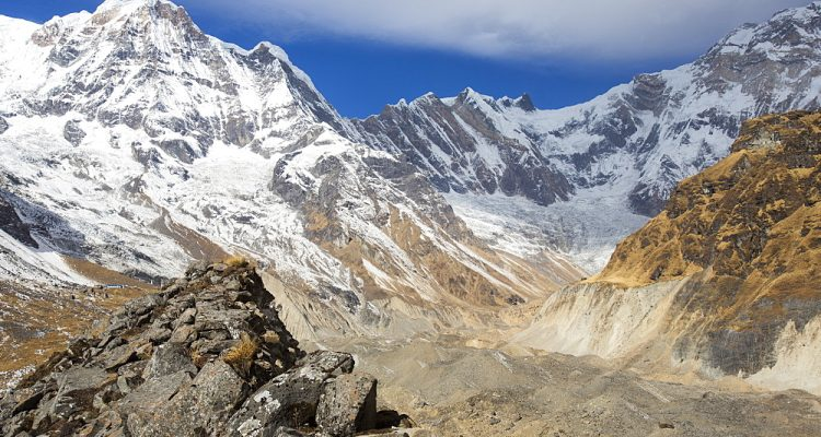 The rapidly retreating South Annapurna glacier in the Annapurna Sanctuary, Nepalese Himalayas, Nepal, Asia