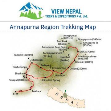 Map of 安納普娜峰基地營(ABC) 健行—13天