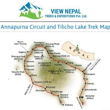 Map of Annapurna circuit Trek 安娜普娜環繞線-18天