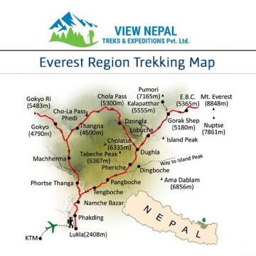 Map of Everest Gokyo Lake Trek 格吉歐山中健行-15天