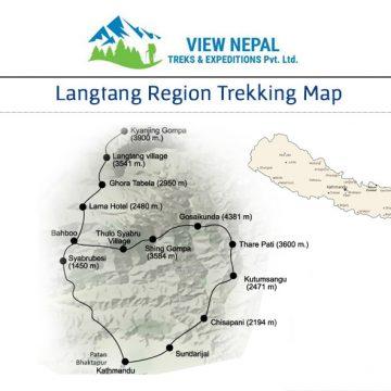 Map of Langtang Trek 藍塘山中健行-14天